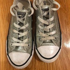 Kids Converse Silver Sparkles